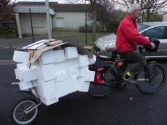 vélo, remorque, beez, transport